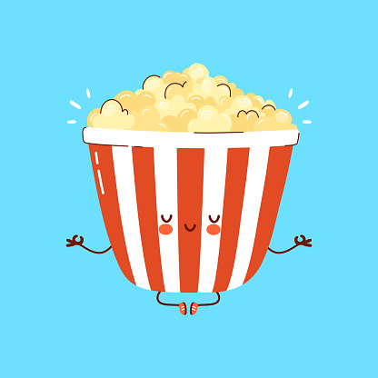 Cute funny Popcorn meditate in yoga pose. Vector hand drawn cartoon kawaii character illustration icon. Isolated on white background. Popcorn meditate concept