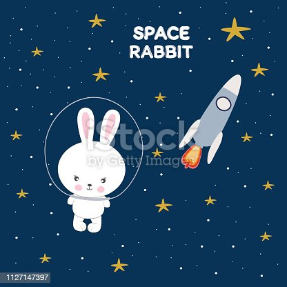 Cute funny rabbit in space. Concept for children print. Sweet kids graphics for t-shirts. Greeting card.