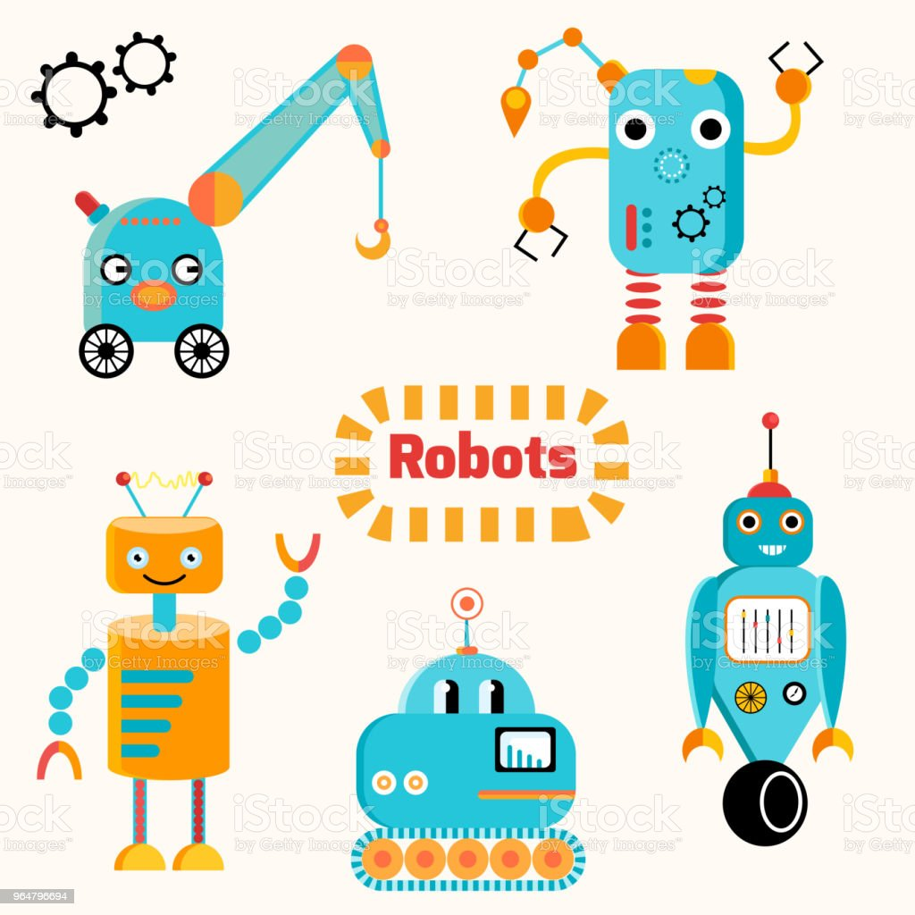 Cute funny robots vector set royalty-free cute funny robots vector set stock vector art & more images of animal