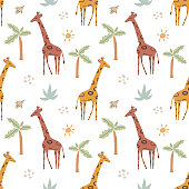 istock Cute funny safary seamless vector pattern with giraffes and palms. Infantile style nursery Art with giraffes ideal for Fabric, Textile. Hand drawn modern illustration in Boho colors. 1304017109