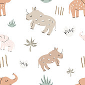 istock Cute funny safary seamless vector pattern with rhinos and elephants. Infantile style nursery Art with rhinoceros and bishops perfect for Fabric, Textile. Hand drawn modern illustration in boho colors 1304016003