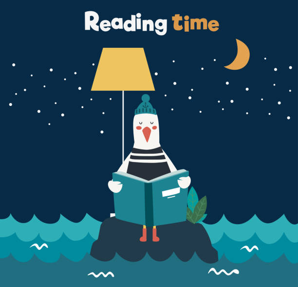 cute, funny sea gull with stripped shirt reading a book - bedtime story stock illustrations