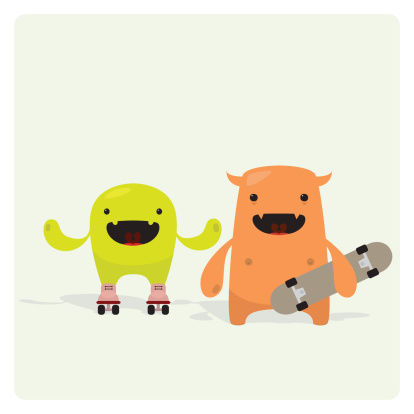 Cute Funny Skater Friends Vector Characters