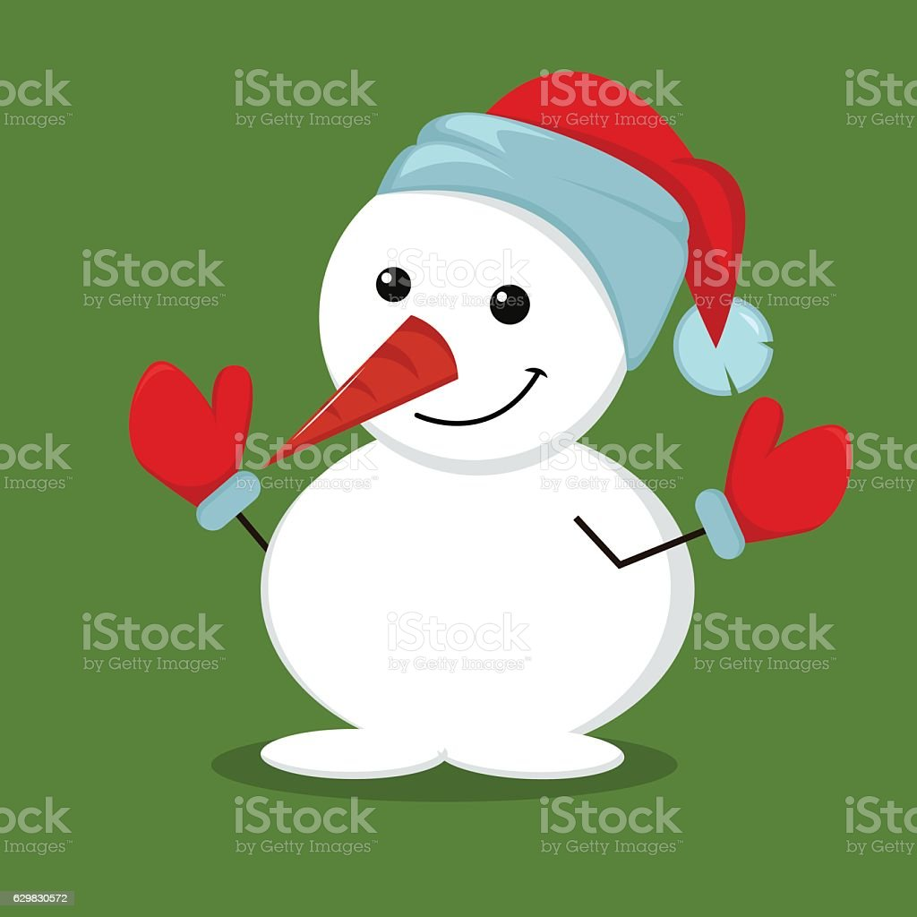 903afe9a427fc Cute Funny Snowman In Mittens And Christmas Hat Stock Vector Art ...