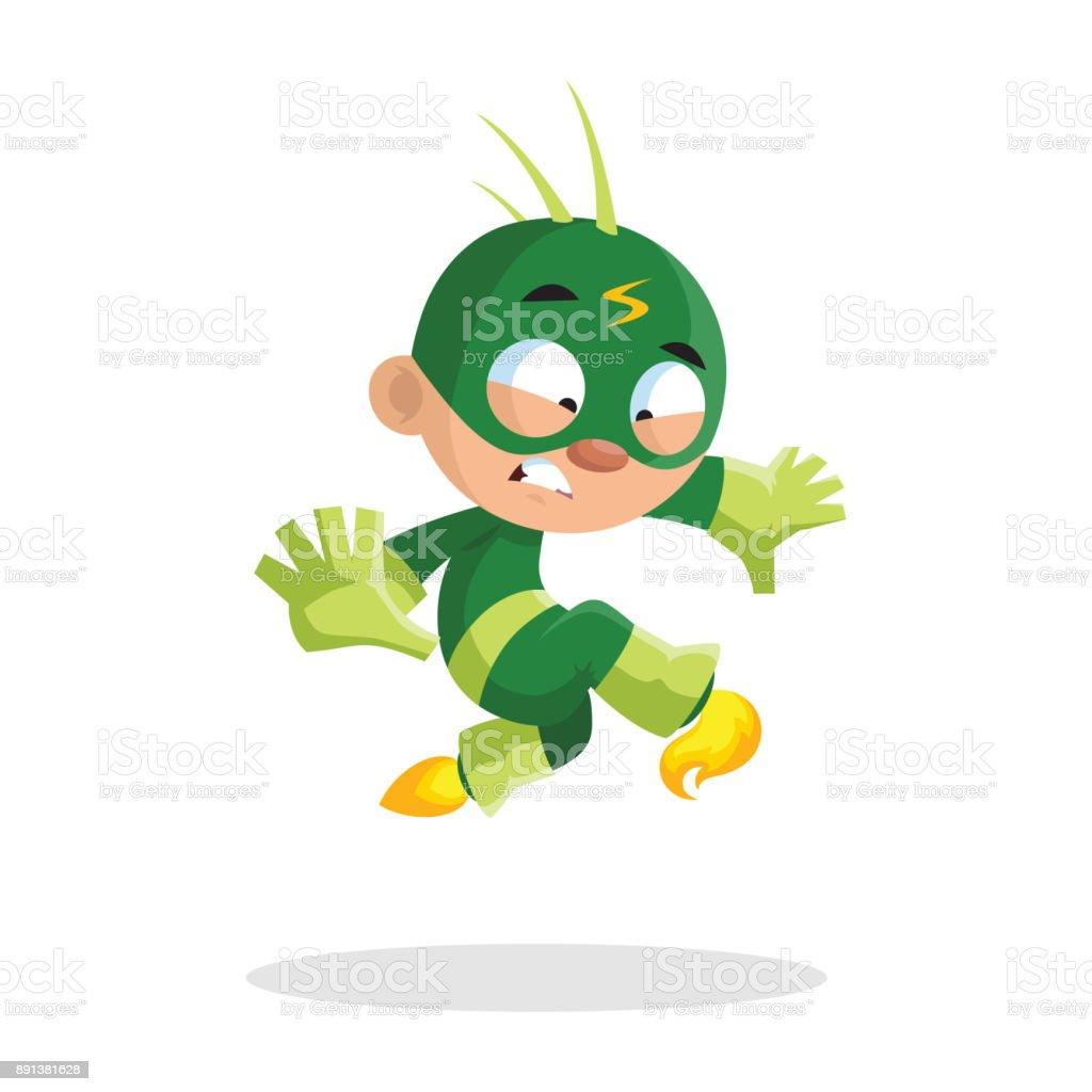 緑のコスチュームとマスク漫画ベクトル イラストかわいい面白いスーパー