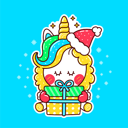 Cute funny unicorn in christmas hat with gift
