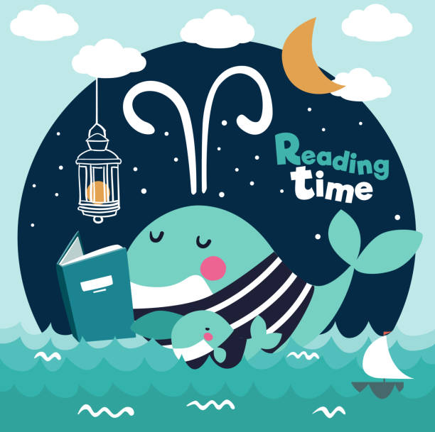cute funny whale with stripped shirt reading a book. family whales . mom and baby whales - bedtime story stock illustrations
