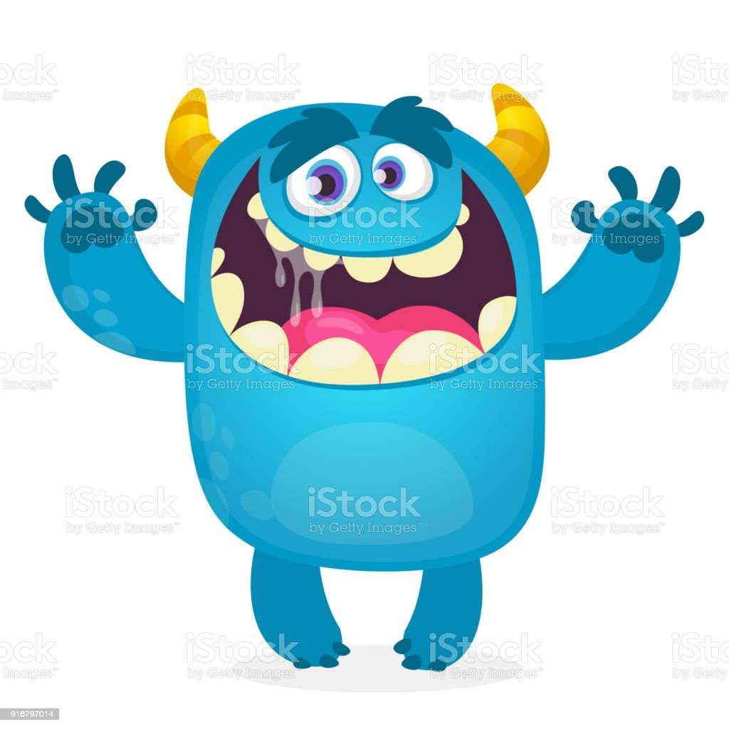 cute furry blue monster vector bigfoot or troll character mascot rh istockphoto com