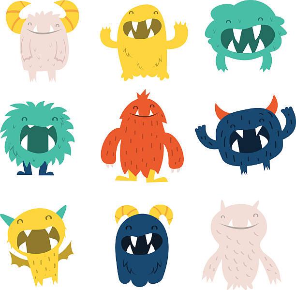 ilustraciones, imágenes clip art, dibujos animados e iconos de stock de mascota lindo monstruos de - monstruo