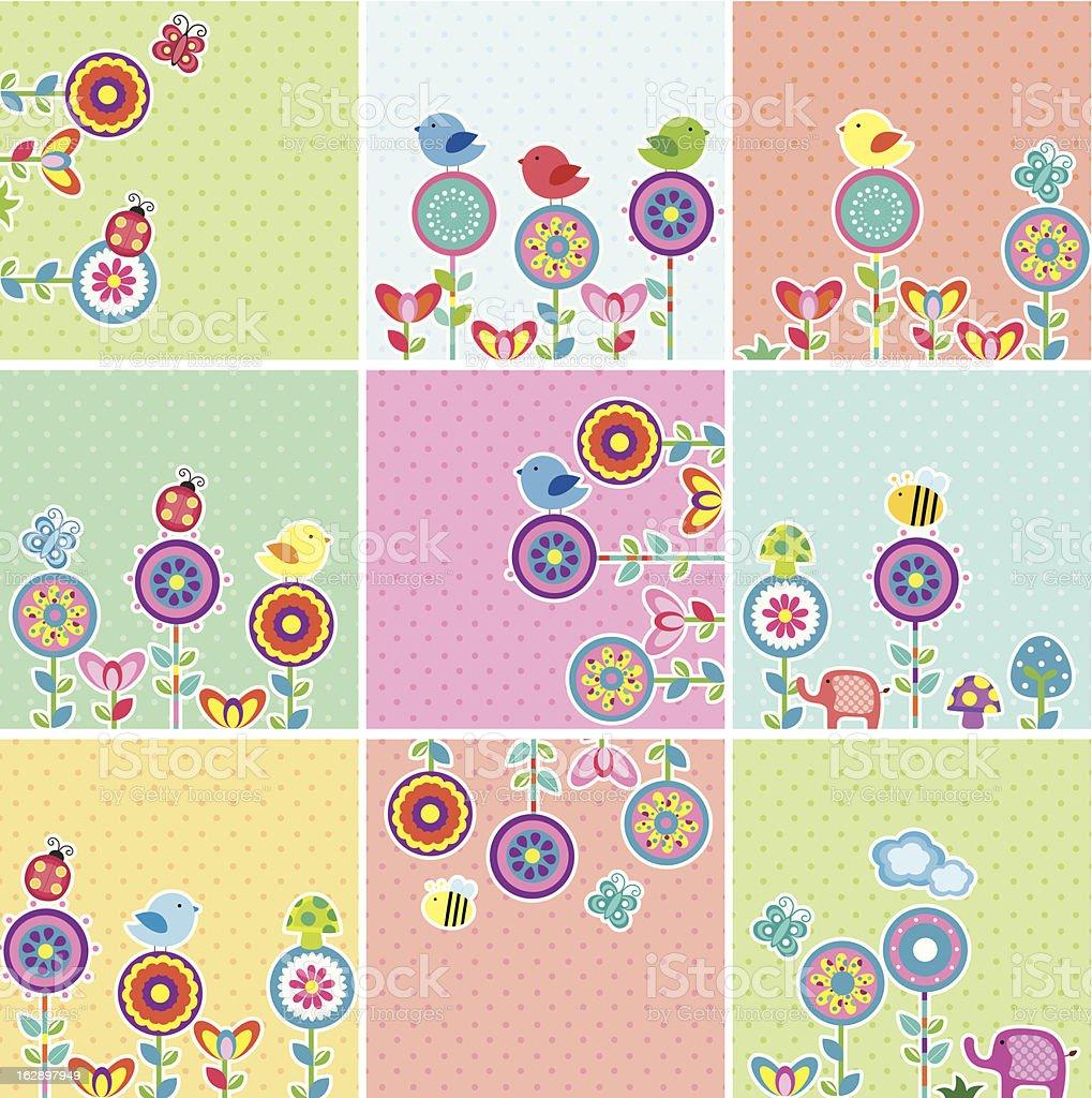 Cute Garden Floral Cards Set royalty-free stock vector art