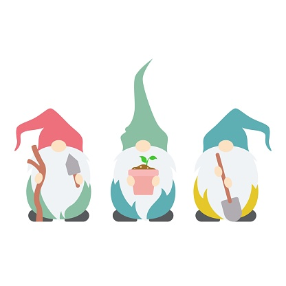 Cute, colorful set of garden gnomes, ready for spring