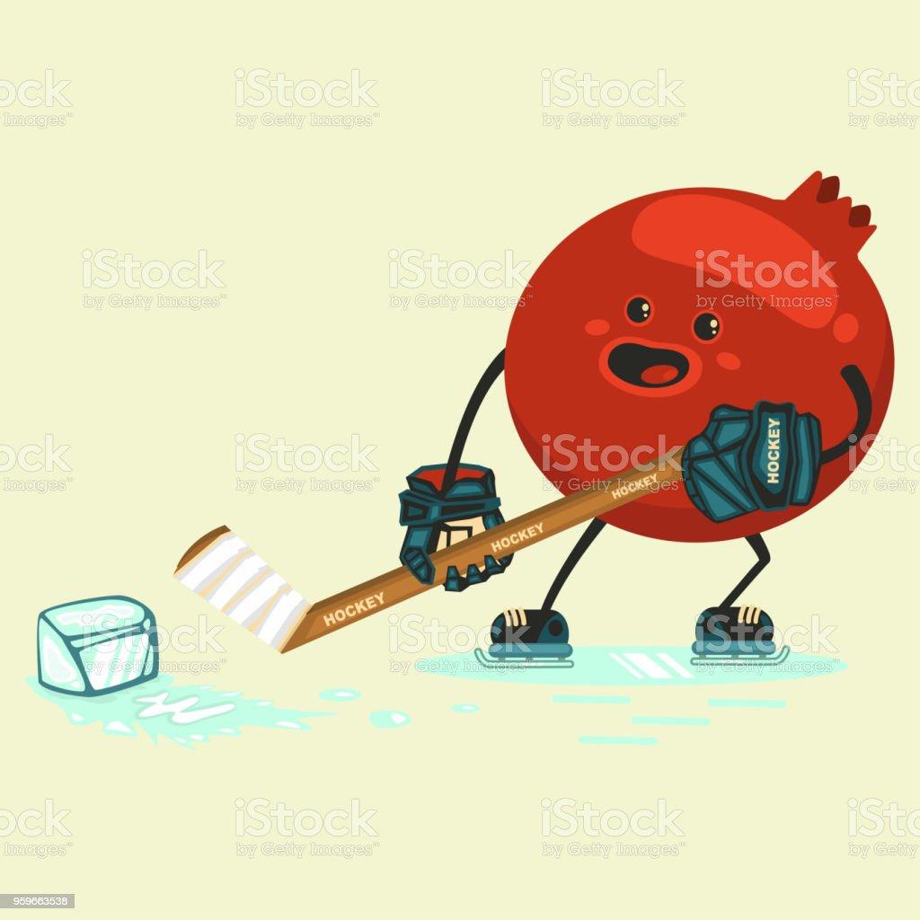 Personaje de dibujos animados lindo granate juega hockey con un pedazo de hielo. Plano ilustración de vector de dibujos animados aislado sobre fondo. Comer saludable y gimnasio. - arte vectorial de Actividad libre de derechos