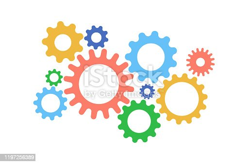 Cute gears cartoon color on white background, vector illustration