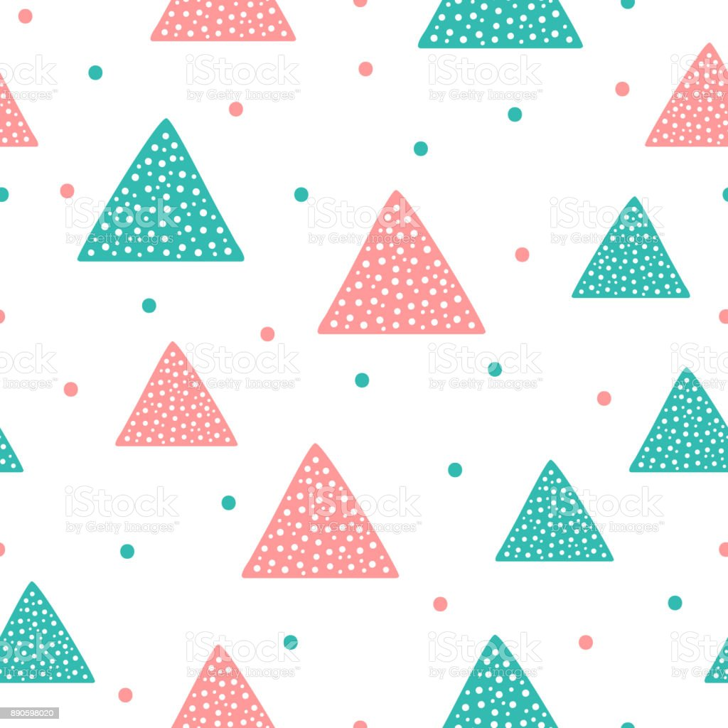 Cute geometric seamless pattern. Triangles and round spots. vector art illustration