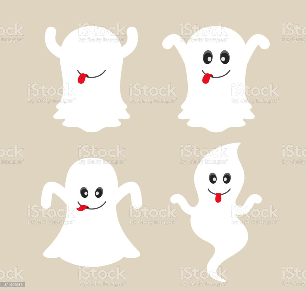 Cute ghost cartoon collection. vector art illustration