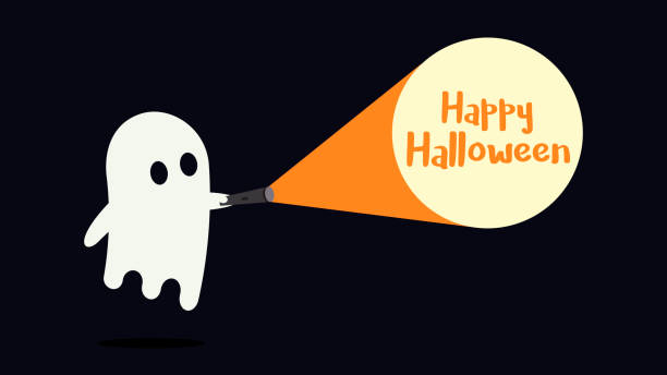 Cute ghost character just found the Happy Halloween message with his flashlight Vector illustration ghost icon stock illustrations