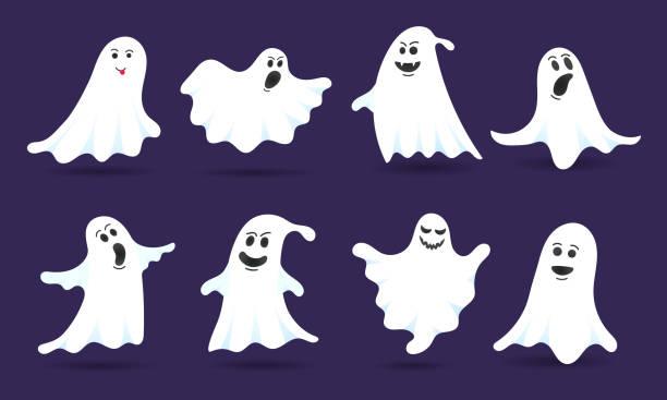 8 cute ghost znaków płaski styl projekt wektor ilustracji izolowane na ciemnym tle. halloween boo upiorny symbol latający nad ziemią. - upiorny stock illustrations