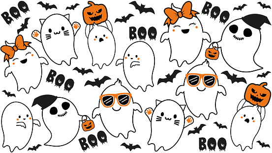 """Cute ghost Collection with Pumpkin and Bat. Halloween hand drawn on t-shirt design, greeting card or poster design Background Vector Illustration.""""n"""