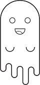 Cute ghost, flat design thin line halloween banner, vector illustration