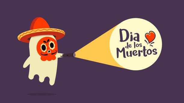 niedliche geist hören einen sombrero mit seinem gesicht gemalt mit traditioneller dekoration fand gerade die ankündigung der dia de los muertos. vektor-illustration - geistergeschichten stock-grafiken, -clipart, -cartoons und -symbole