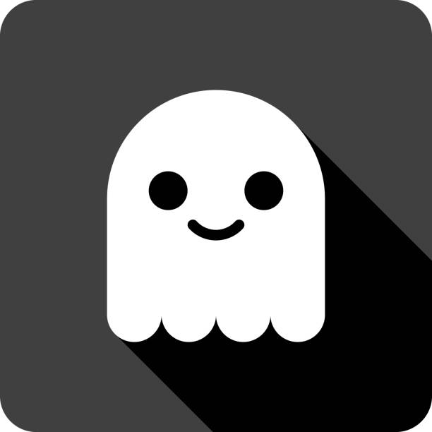 Cute Ghost Icon Silhouette Vector illustration of a black ghost icon in flat style. ghost icon stock illustrations