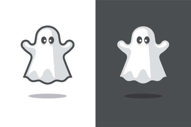 Cute ghost icon. Cute ghost icon isolated on black and white backgrounds. Halloween funny spooky symbol, design element. ghost icon stock illustrations