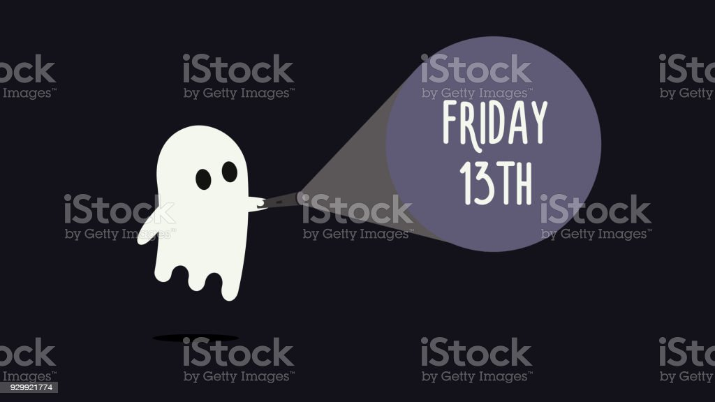 Cute ghost with his flashlight pointing towards Friday 13th. Vector Background illustration for friday 13 superstition day vector art illustration