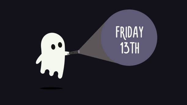Cute ghost with his flashlight pointing towards Friday 13th. Vector Background illustration for friday 13 superstition day vector eps10 infamous stock illustrations