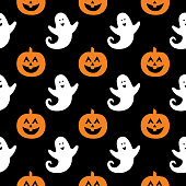 Vector seamless pattern of cute little ghosts and halloween pumpkins on a black background.