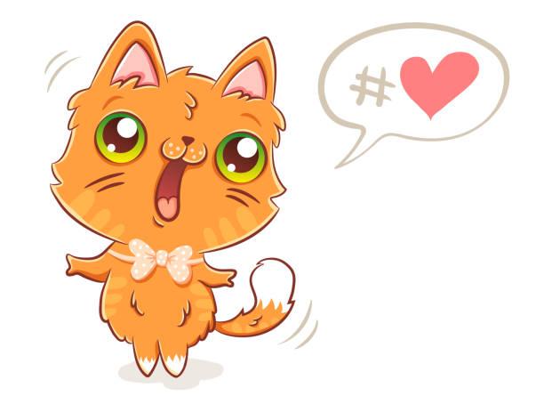 stockillustraties, clipart, cartoons en iconen met schattig gember kat - miauwen