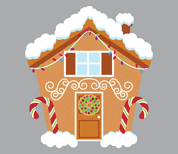 cute gingerbread house covered in snow and decorated with candy - lebkuchenhaus stock-grafiken, -clipart, -cartoons und -symbole