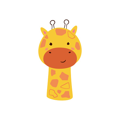 Cute giraffe. Animal kawaii character. Funny little giraffe face. Vector hand drawn illustration isolated on white background