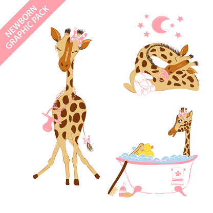 Cute giraffe baby girl celebrating newborn isolated on white background