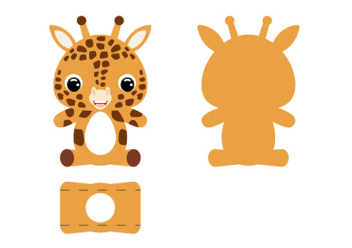 DIY cute giraffe chocolate egg holder template. Retail paper box for the easter egg. Printable color scheme. Laser cutting vector template. Isolated packaging design illustration.
