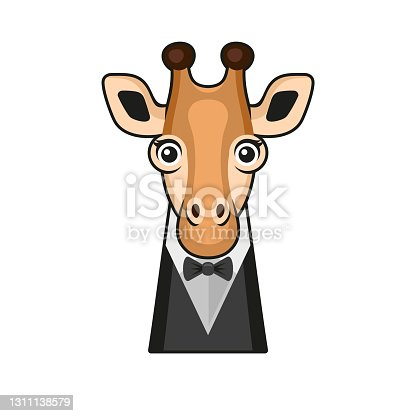 istock Cute Giraffe Face with Tuxedo and Bowtie Cartoon Style on White Background. Vector 1311138579