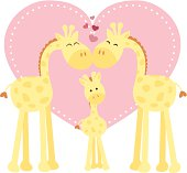 A vector illustration of a giraffe family (mother, father and baby) in front on a heart shape. Objects are grouped and layered for easy editing. Files included: AICS5, EPS8, PNG and Large High Res JPG.