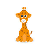 Cute giraffe hand drawn children vector illustration. Baby graphic for kids t-shirt print. Smile funny colors yellow and brown animal portrait. Cartoon africa mammal on white background.