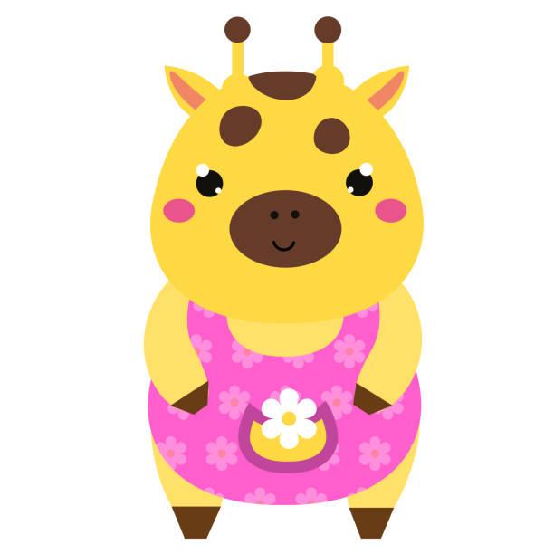 niedliche giraffe im rosa kleid. kawaii tiere zeichentrickfigur. vektor-illustration für kinder & babys mode - giraffenkostüm stock-grafiken, -clipart, -cartoons und -symbole