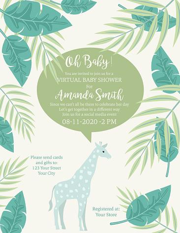 Cute Giraffe Jungle Animals Baby Shower Invitation