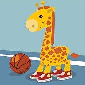 Cute giraffe player basketball