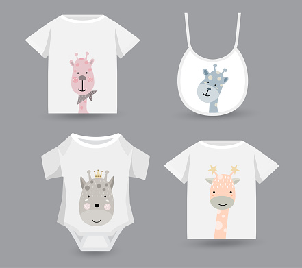 cute giraffe set for baby,  t-shirt print, textile, patch, kid product,pillow, gift.vector illustrator