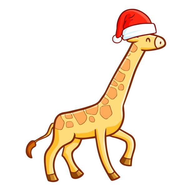 niedliche giraffe santas hut für weihnachten und lächelnd - giraffenkostüm stock-grafiken, -clipart, -cartoons und -symbole