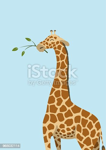 Cute giraffe with tree branch on blue background. Vector illustration.