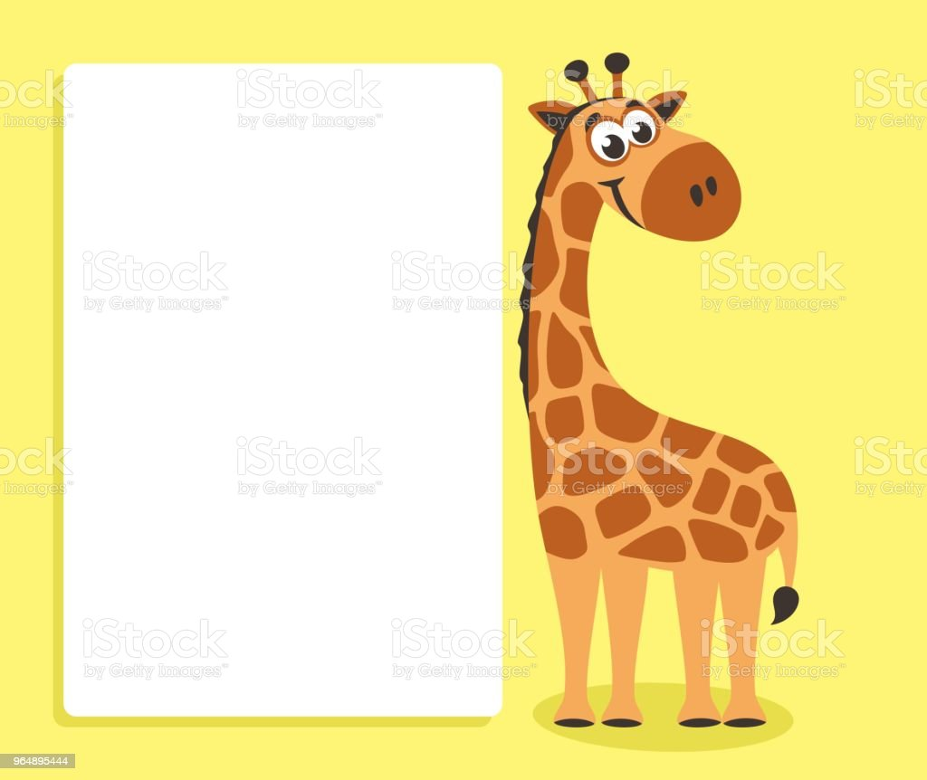 Cute Giraffe with white board. royalty-free cute giraffe with white board stock vector art & more images of africa