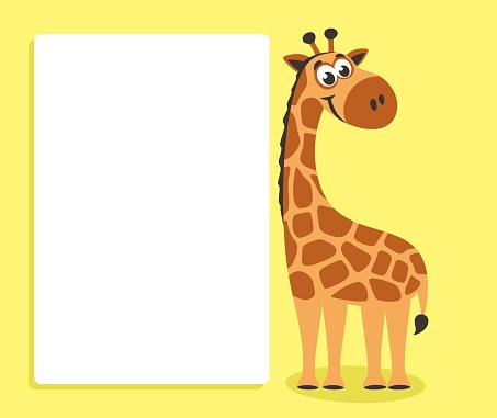 Cute Giraffe With White Board Stock Vector Art & More Images of Africa