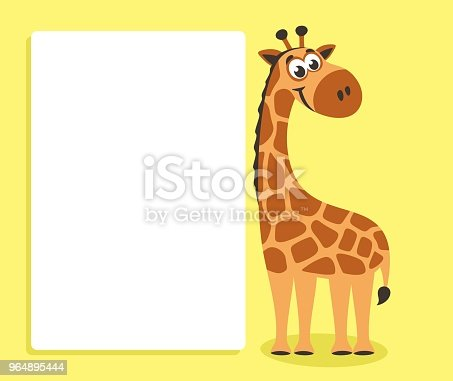 Cute Giraffe With White Board Stock Vector Art & More Images of Africa 964895444