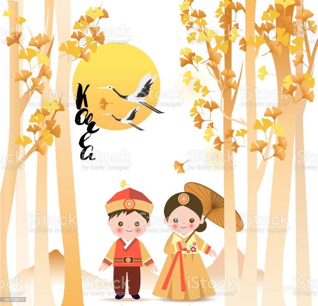 Cute girl and boy standing under ginkgo biloba tree in korean cute girl and boy standing under ginkgo biloba tree in korean traditional costume with sun m4hsunfo