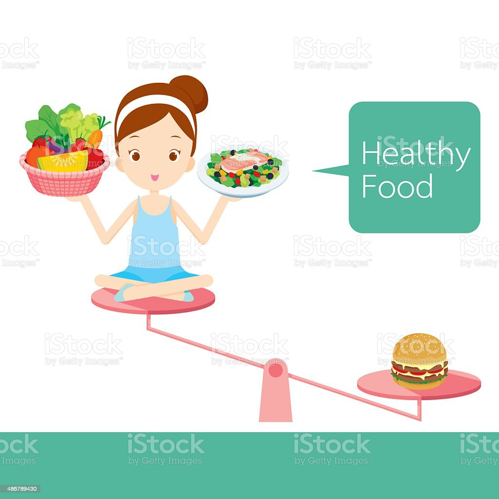Cute girl and foods on balance vector art illustration