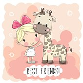 Cute Cartoon Girl and Giraffe on a pink background