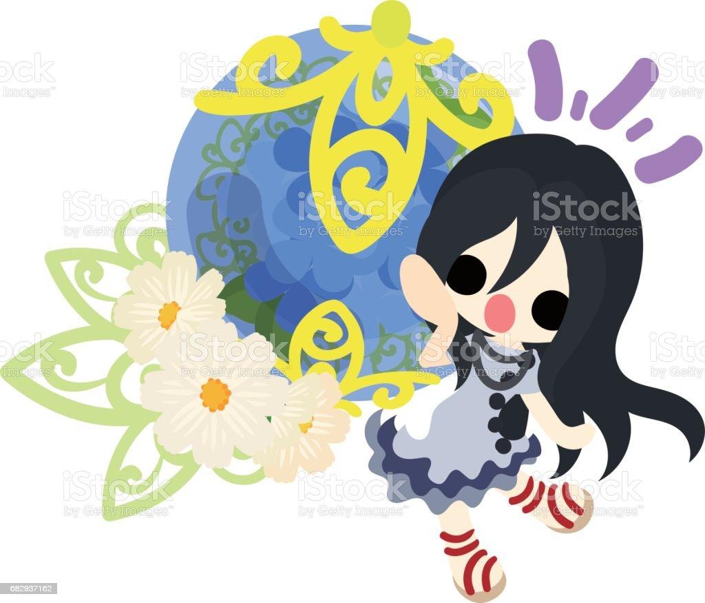Una linda chica y hortensias ilustración de una linda chica y hortensias y más banco de imágenes de a la moda libre de derechos